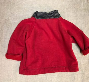 Charlie Jacket, red children's coat with gray flannel trim, back view