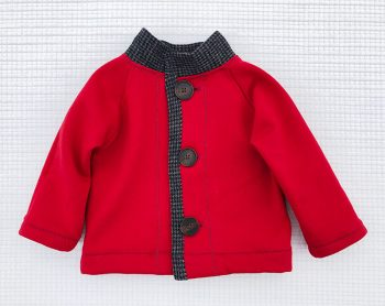 Charlie Jacket, red children's coat with gray flannel trim, front view