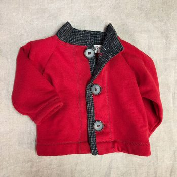 Charlie Jacket, red children's coat with gray flannel trim, front lined view