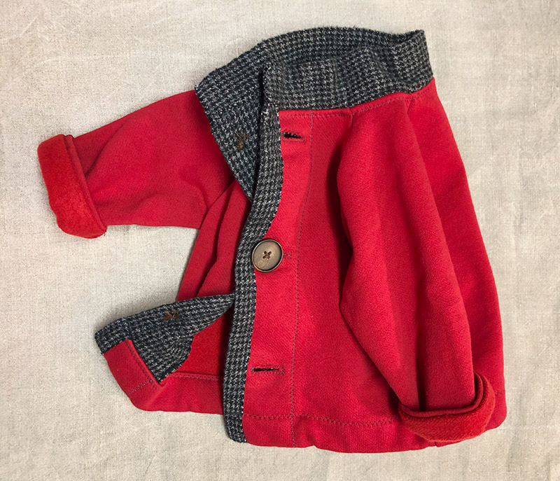 Charlie Jacket, red children's coat with gray flannel trim, side lined view