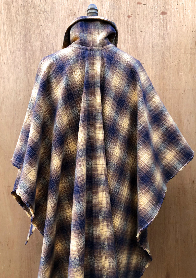 Millie Poncho in 100% cotton flannel, back view