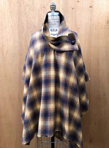 Millie Poncho in 100% cotton flannel, front view